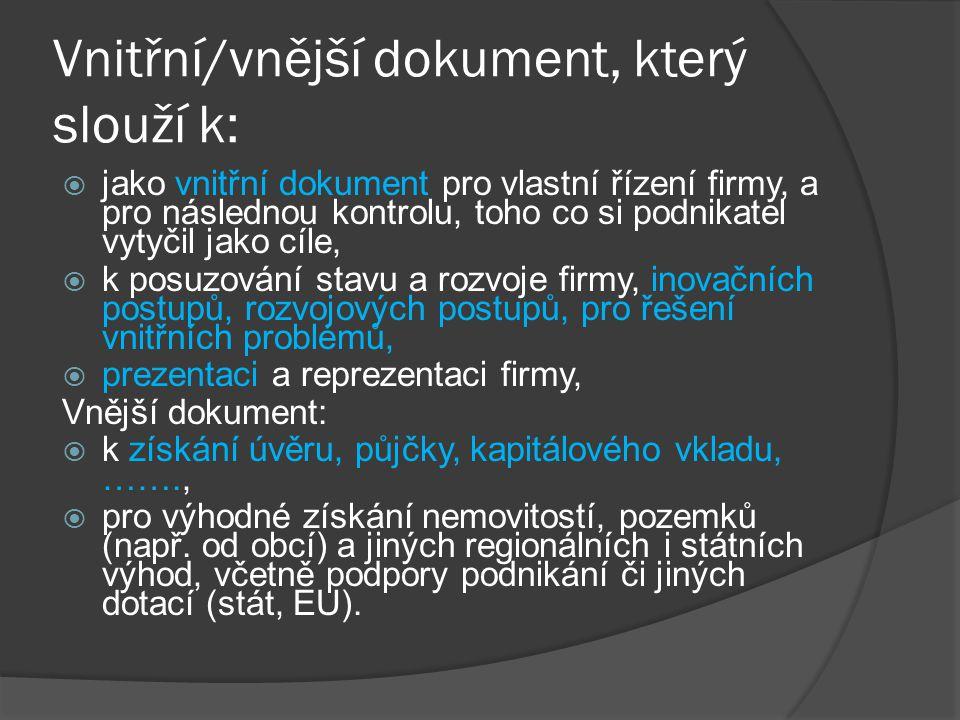 Vnitřní/vnější dokument, který slouží k:  jako vnitřní dokument pro vlastní řízení firmy, a pro následnou kontrolu, toho co si podnikatel vytyčil jak