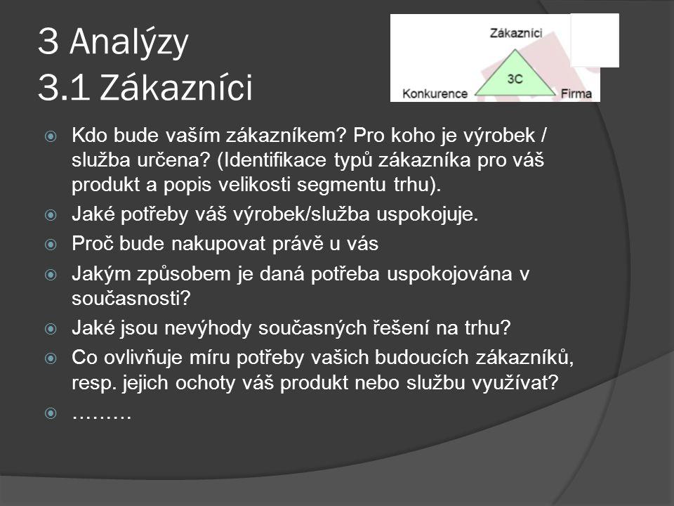 3 Analýzy 3.1 Zákazníci  Kdo bude vaším zákazníkem? Pro koho je výrobek / služba určena? (Identifikace typů zákazníka pro váš produkt a popis velikos