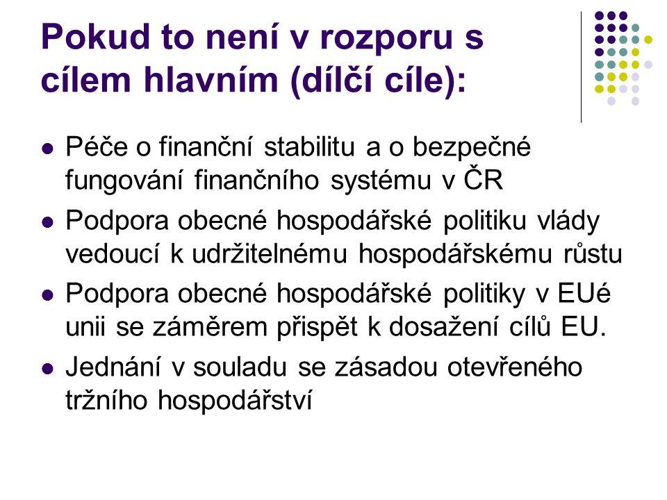 Postavení ČNB Centrální banka je tedy mj.: ústřední bankou České republiky; součástí Evropského systému ústředních bank (http://www.cnb.cz/cs/mezinarodni_vztahy/ecb_escb/http://www.cnb.cz/cs/mezinarodni_vztahy/ecb_escb/ http://www.ecb.int/home/html/index.en.htmlhttp://www.ecb.int/home/html/index.en.html); správcem měny a výlučnou emisní institucí; bankou bank v její působnosti; správcem účtů státu (např.