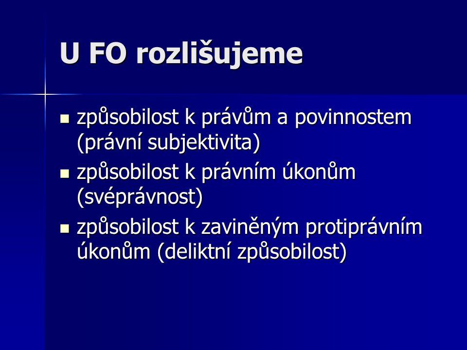 U FO rozlišujeme způsobilost k právům a povinnostem (právní subjektivita) způsobilost k právům a povinnostem (právní subjektivita) způsobilost k právn