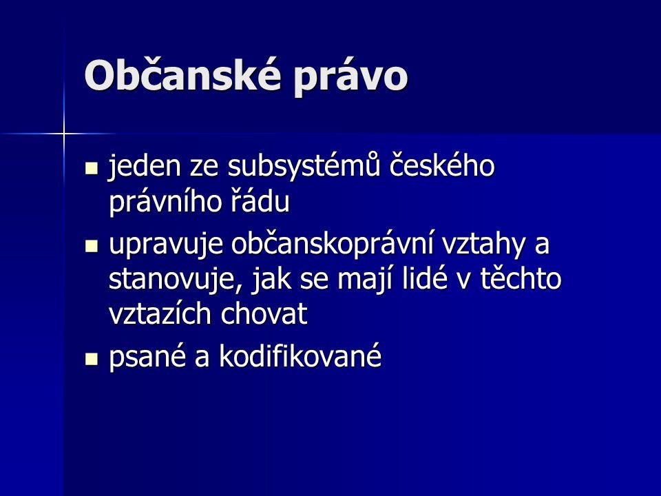 jeden ze subsystémů českého právního řádu jeden ze subsystémů českého právního řádu upravuje občanskoprávní vztahy a stanovuje, jak se mají lidé v těc