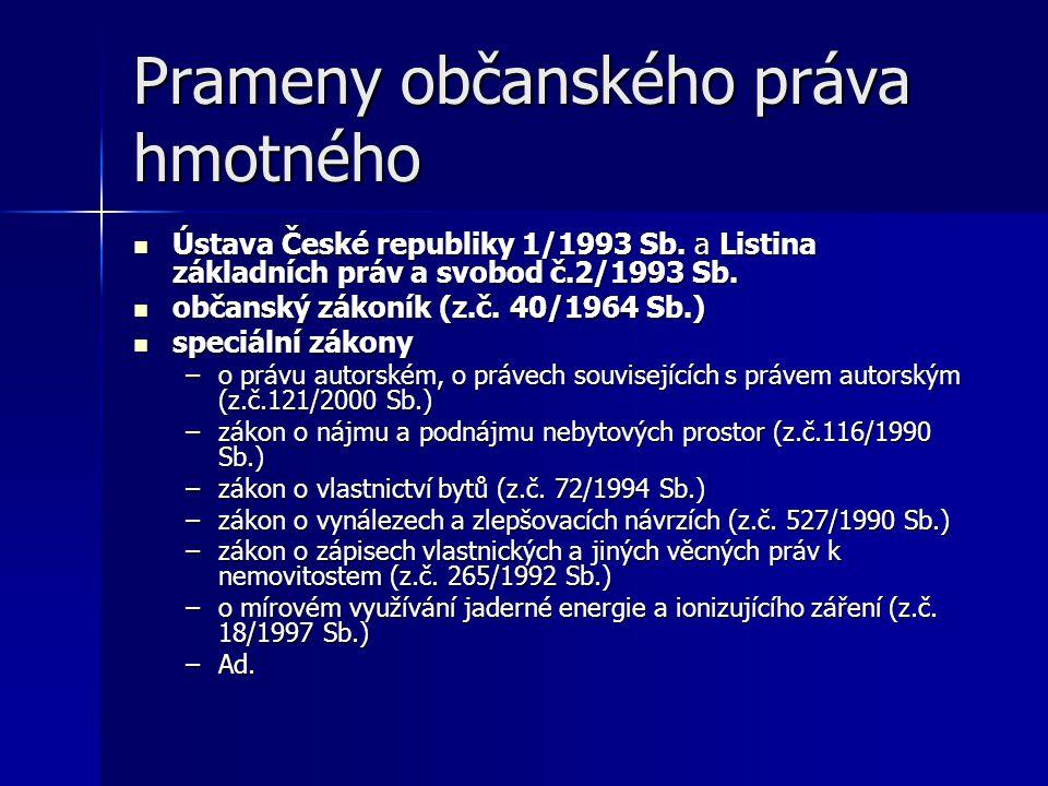 Stát jako PO ČR je PO, vystupuje-li jako účastník občanskoprávních vztahů ČR je PO, vystupuje-li jako účastník občanskoprávních vztahů