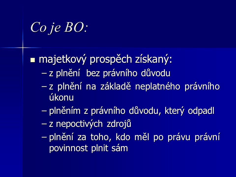 Co je BO: majetkový prospěch získaný: majetkový prospěch získaný: –z plnění bez právního důvodu –z plnění na základě neplatného právního úkonu –plnění