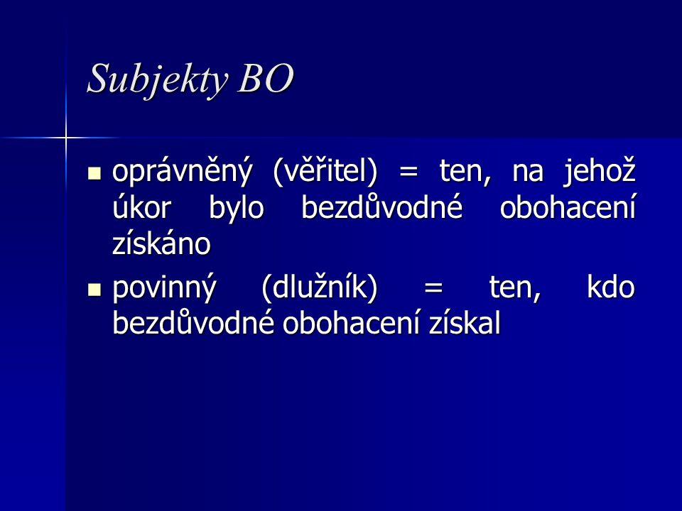 Subjekty BO oprávněný (věřitel) = ten, na jehož úkor bylo bezdůvodné obohacení získáno oprávněný (věřitel) = ten, na jehož úkor bylo bezdůvodné obohac