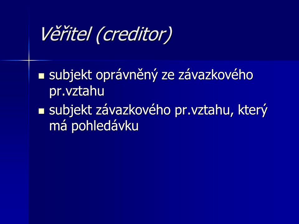 Věřitel (creditor) subjekt oprávněný ze závazkového pr.vztahu subjekt oprávněný ze závazkového pr.vztahu subjekt závazkového pr.vztahu, který má pohle