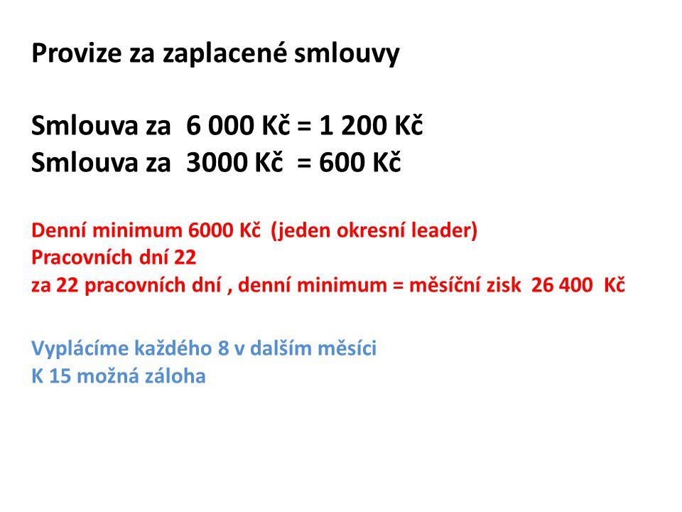 Provize za zaplacené smlouvy Smlouva za 6 000 Kč = 1 200 Kč Smlouva za 3000 Kč = 600 Kč Denní minimum 6000 Kč (jeden okresní leader) Pracovních dní 22