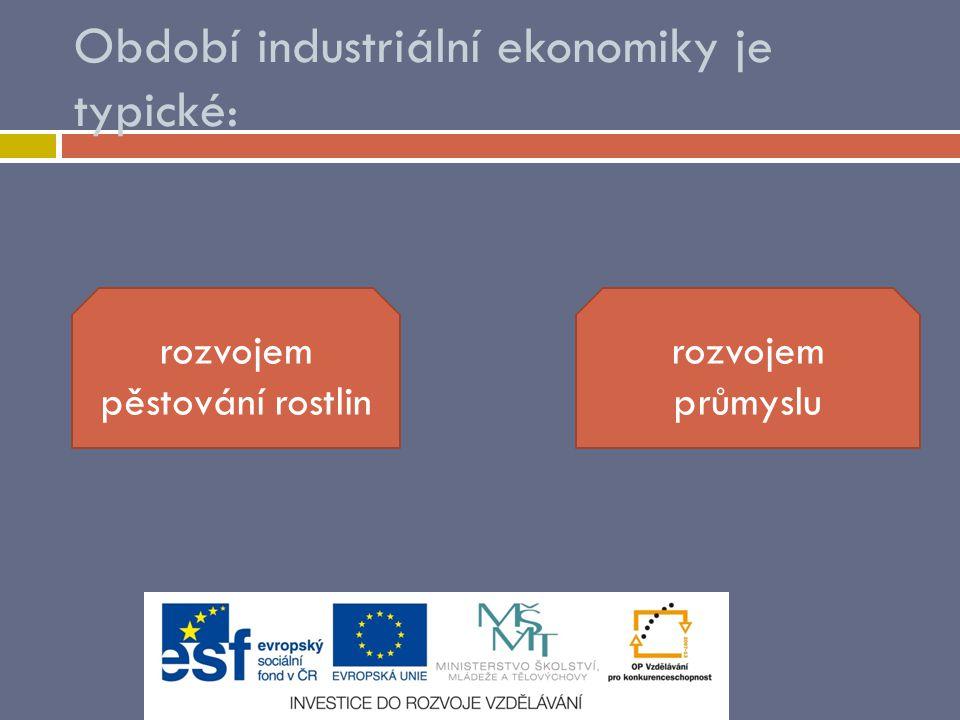 Období industriální ekonomiky je typické: rozvojem pěstování rostlin rozvojem průmyslu