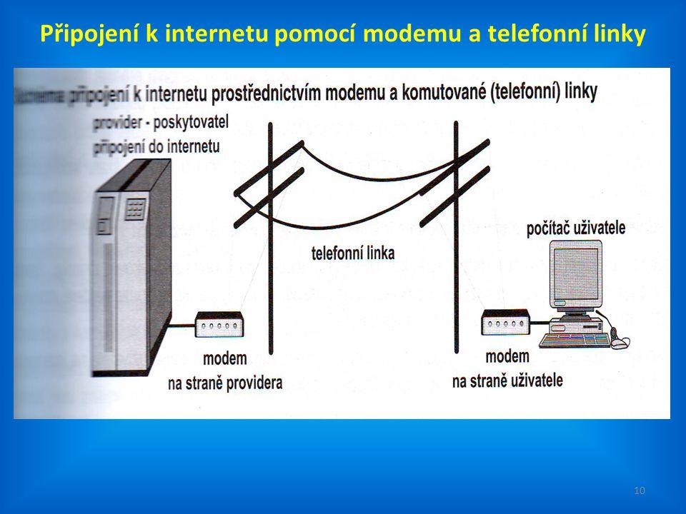 10 Připojení k internetu pomocí modemu a telefonní linky
