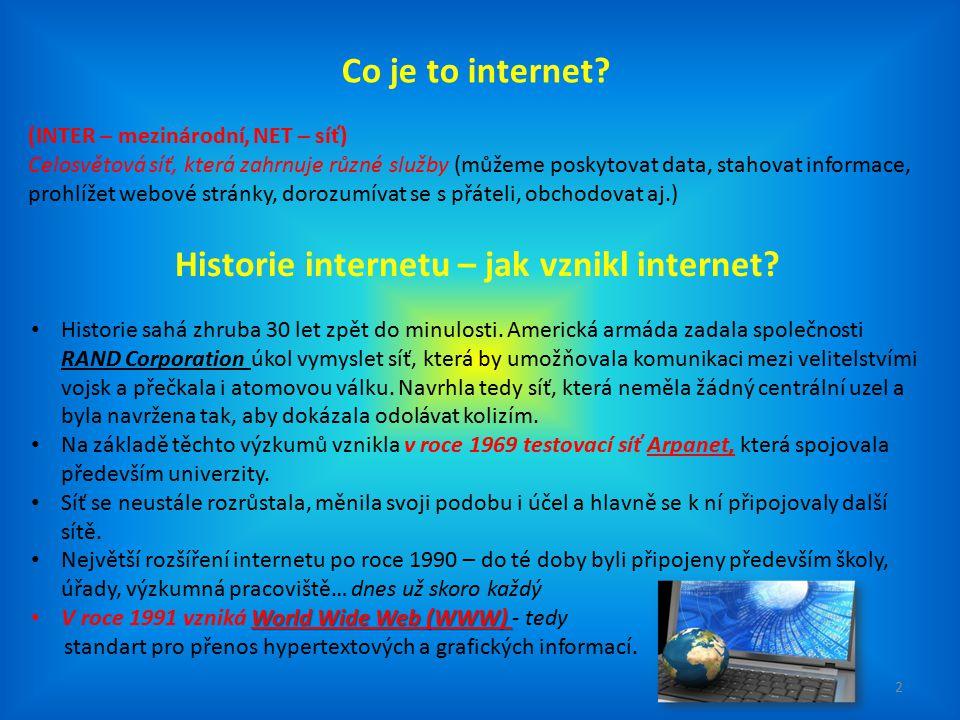 Jak funguje internet.Internet propojuje miliony počítačů na světě.