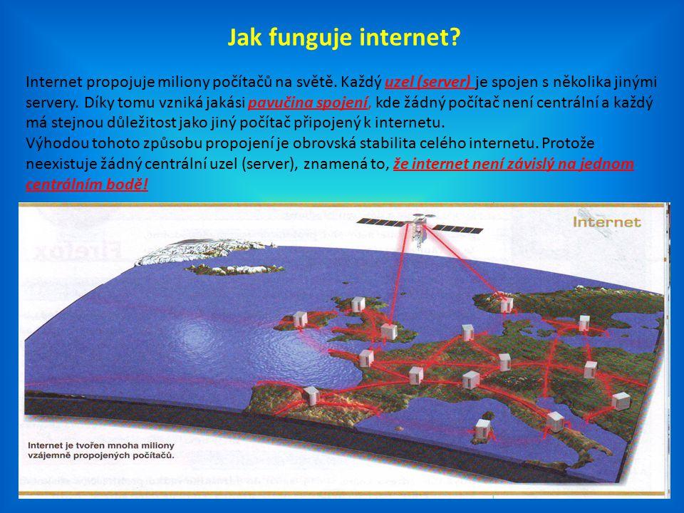 Jak funguje internet? Internet propojuje miliony počítačů na světě. Každý uzel (server) je spojen s několika jinými servery. Díky tomu vzniká jakási p