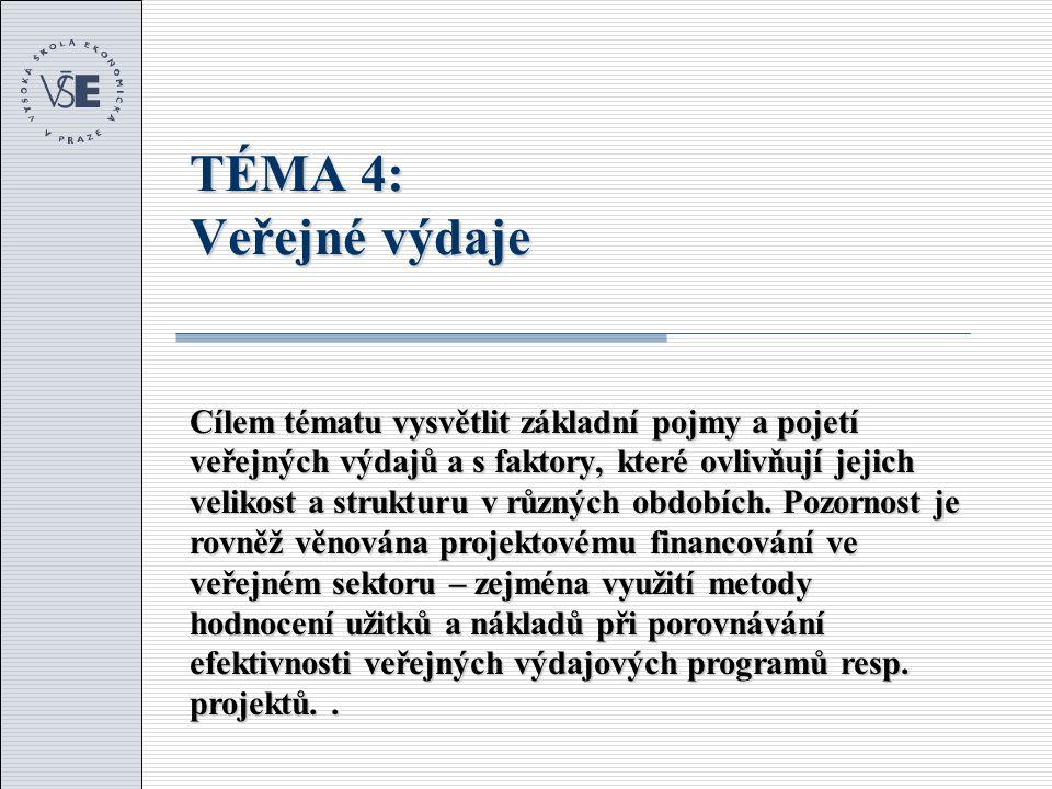 Osnova tématu 1.Úvod a pojmy 2.Institucionální rámec v ČR 3.Vývoj veřejných výdajů 4.Mikroekonomické aspekty veřejných výdajů 5.Efektivnost veřejných výdajových programů a projektů