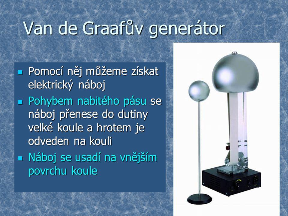 Van de Graafův generátor Pomocí něj můžeme získat elektrický náboj Pomocí něj můžeme získat elektrický náboj Pohybem nabitého pásu se náboj přenese do