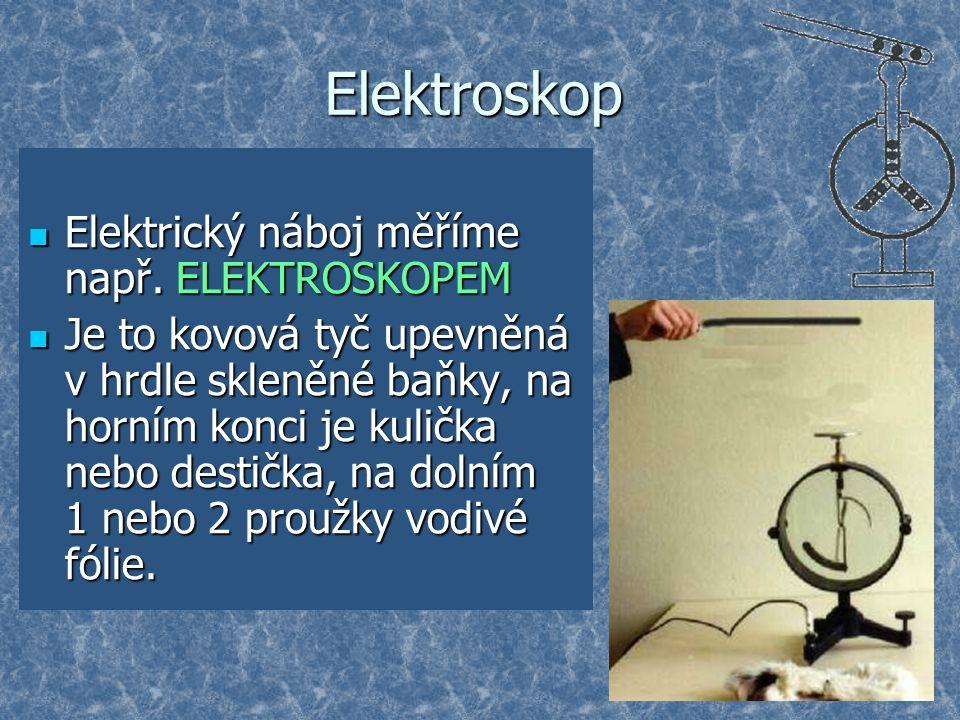 Elektroskop Elektrický náboj měříme např. ELEKTROSKOPEM Elektrický náboj měříme např. ELEKTROSKOPEM Je to kovová tyč upevněná v hrdle skleněné baňky,