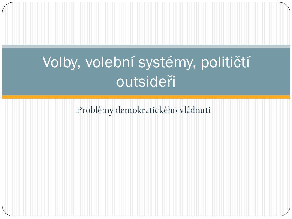 Problémy demokratického vládnutí Volby, volební systémy, političtí outsideři