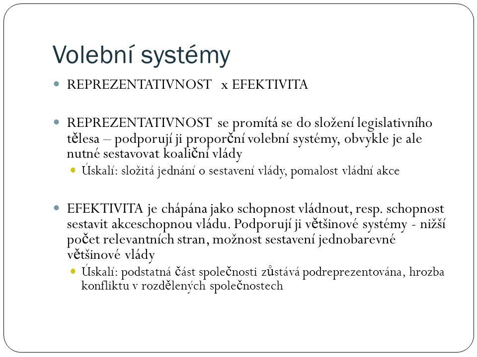 Volební systémy REPREZENTATIVNOST x EFEKTIVITA REPREZENTATIVNOST se promítá se do složení legislativního t ě lesa – podporují ji propor č ní volební systémy, obvykle je ale nutné sestavovat koali č ní vlády Úskalí: složitá jednání o sestavení vlády, pomalost vládní akce EFEKTIVITA je chápána jako schopnost vládnout, resp.