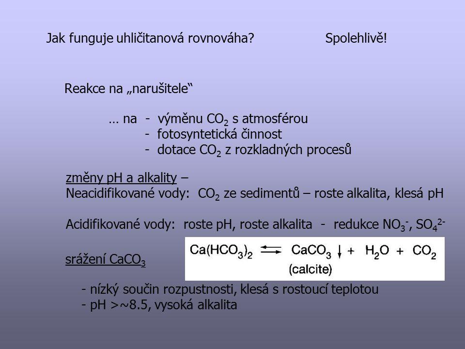 """Jak funguje uhličitanová rovnováha?Spolehlivě! Reakce na """"narušitele"""" … na - výměnu CO 2 s atmosférou - fotosyntetická činnost - dotace CO 2 z rozklad"""