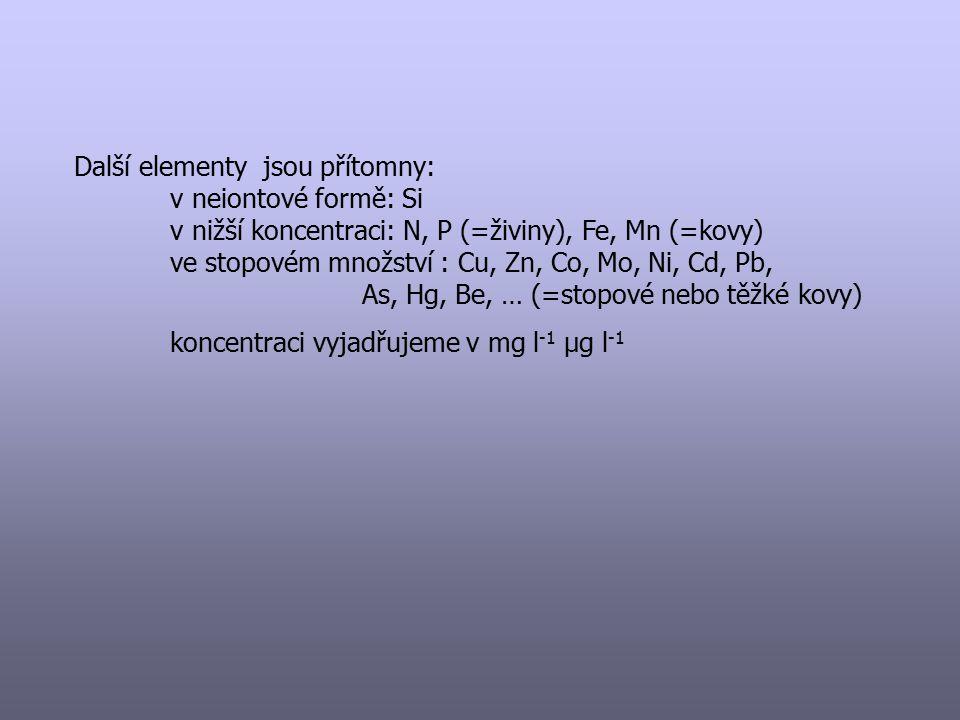 Další elementy jsou přítomny: v neiontové formě: Si v nižší koncentraci: N, P (=živiny), Fe, Mn (=kovy) ve stopovém množství : Cu, Zn, Co, Mo, Ni, Cd,