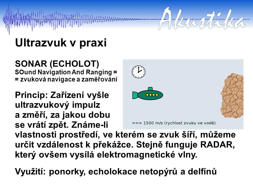 SONAR (ECHOLOT) SOund Navigation And Ranging = = zvuková navigace a zaměřování Princip: Zařízení vyšle ultrazvukový impulz a změří, za jakou dobu se v