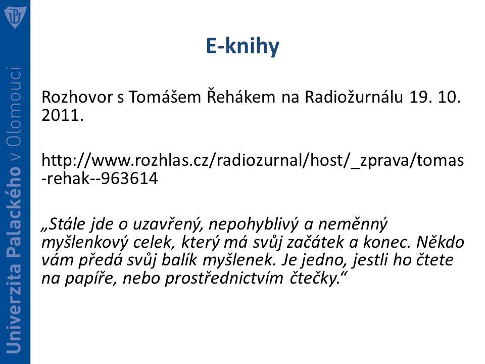 E-knihy Rozhovor s Tomášem Řehákem na Radiožurnálu 19.