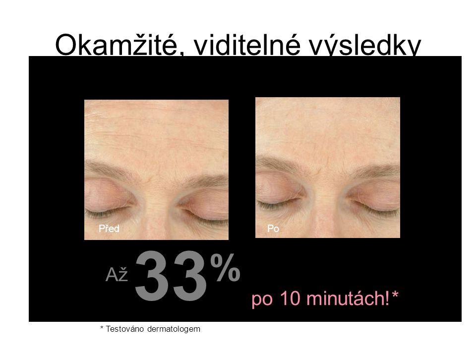 Okamžité, viditelné výsledky * Testováno dermatologem fewer forehead lines & wrinkles po 10 minutách!* 33 % Až PředPo