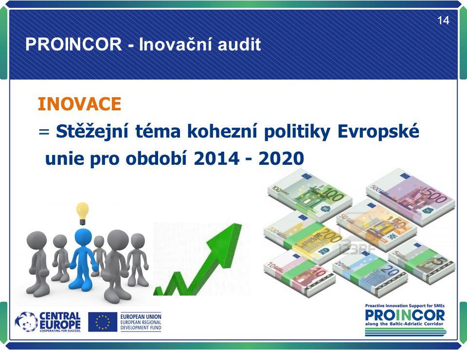PROINCOR - Inovační audit 14 INOVACE = Stěžejní téma kohezní politiky Evropské unie pro období 2014 - 2020
