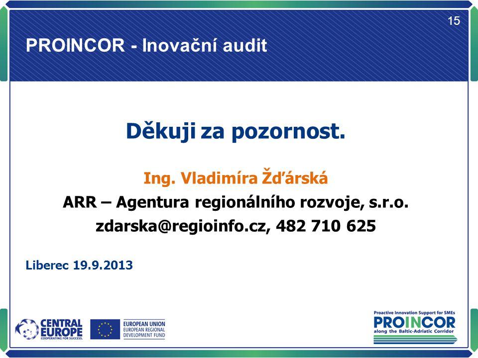 PROINCOR - Inovační audit 15 Děkuji za pozornost. Ing.