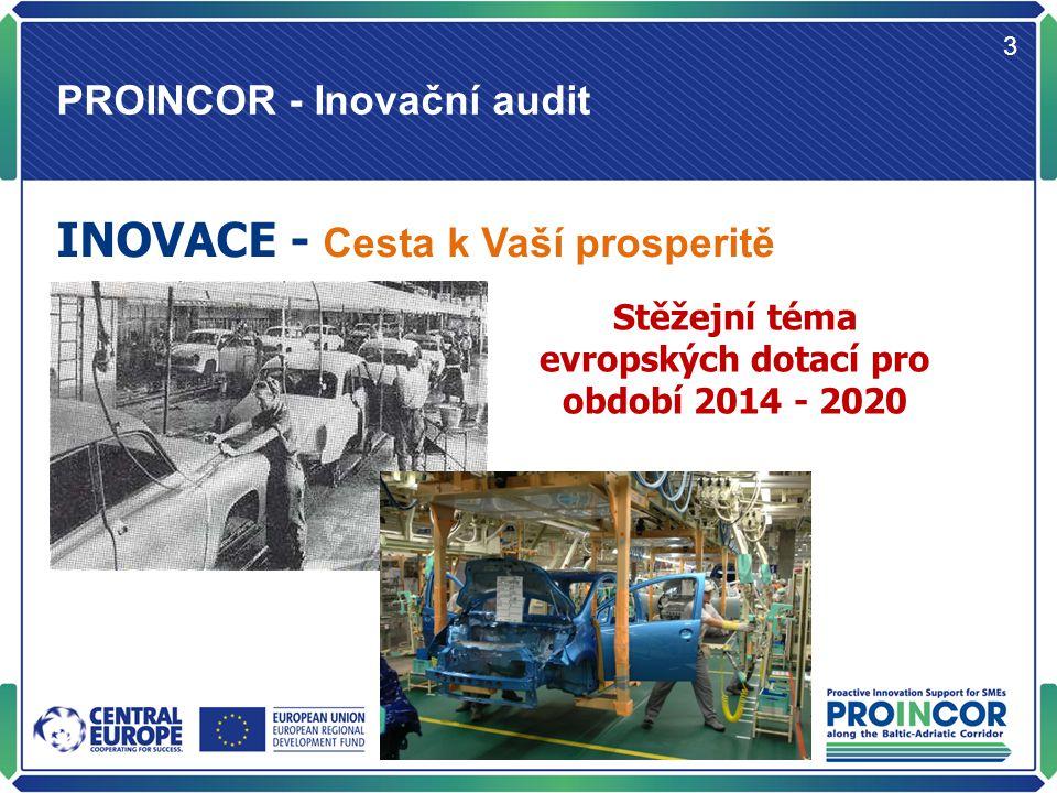 PROINCOR - Inovační audit 4 Cíl projektu PROINCOR: Zlepšit inovační potenciál a výkonnost malých a středních podniků Nástrojem je Inovační audit Jednotná metodika umožňuje srovnání zapojené společnosti z pohledu inovací v národním a evropském kontextu