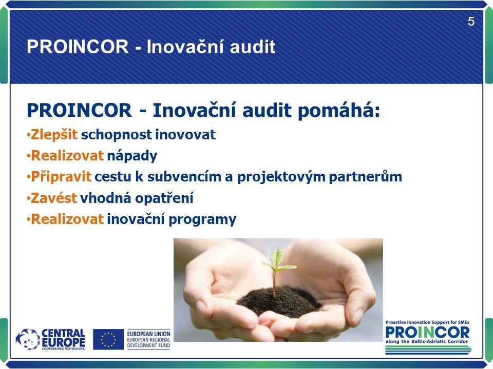 Jak funguje PROINCOR - Inovační audit 6 Podává zprávu o stavu dovedností v oblasti inovací (proces a prostředí) ve firmách.