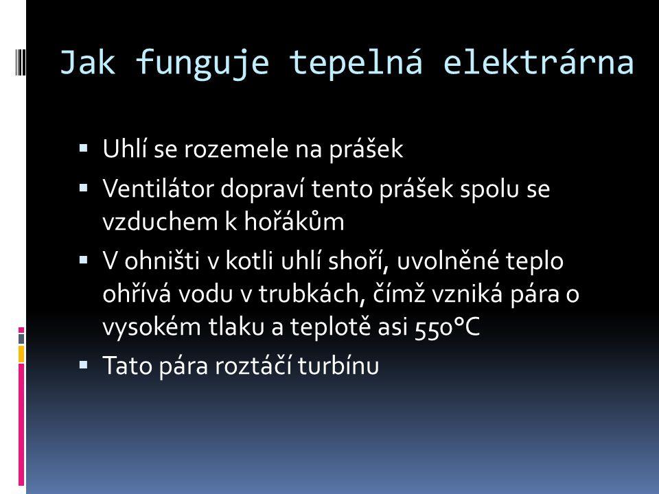 Jak funguje tepelná elektrárna  Turbína je umístěna na jedné hřídeli s generátorem, ve kterém vzniká elektrický proud  Pára poté přechází do kondenzátoru  V kondenzátoru se pára ochlazuje studenou vodou a kondenzuje zpět na kapalné skupenství