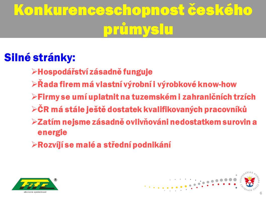 30. červenec 2009 6 Konkurenceschopnost českého průmyslu Silné stránky:  Hospodářství zásadně funguje  Řada firem má vlastní výrobní i výrobkové kno