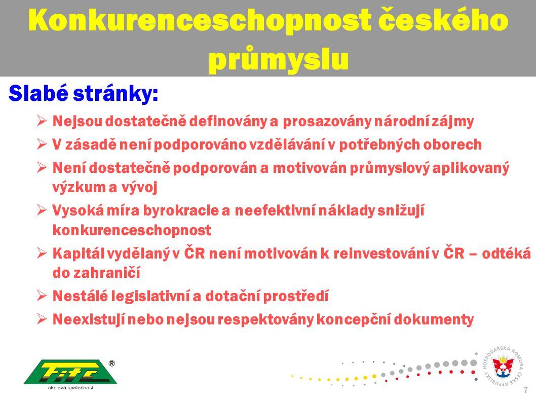30. červenec 2009 7 Konkurenceschopnost českého průmyslu Slabé stránky:  Nejsou dostatečně definovány a prosazovány národní zájmy  V zásadě není pod