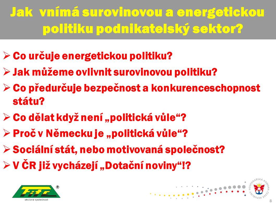 30.červenec 2009 8  Co určuje energetickou politiku.