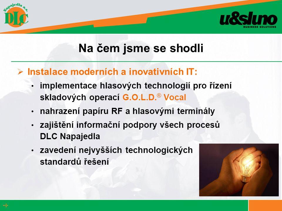 Na čem jsme se shodli  Instalace moderních a inovativních IT: implementace hlasových technologií pro řízení skladových operací G.O.L.D.