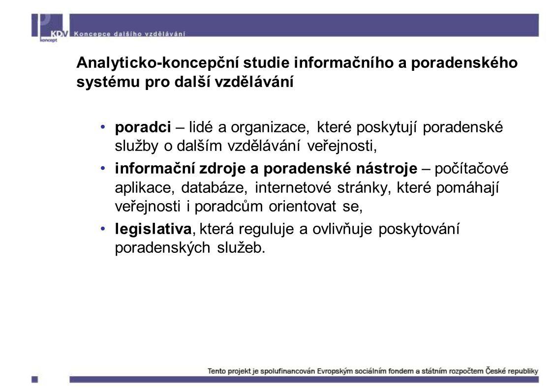 Analyticko-koncepční studie informačního a poradenského systému pro další vzdělávání poradci – lidé a organizace, které poskytují poradenské služby o dalším vzdělávání veřejnosti, informační zdroje a poradenské nástroje – počítačové aplikace, databáze, internetové stránky, které pomáhají veřejnosti i poradcům orientovat se, legislativa, která reguluje a ovlivňuje poskytování poradenských služeb.