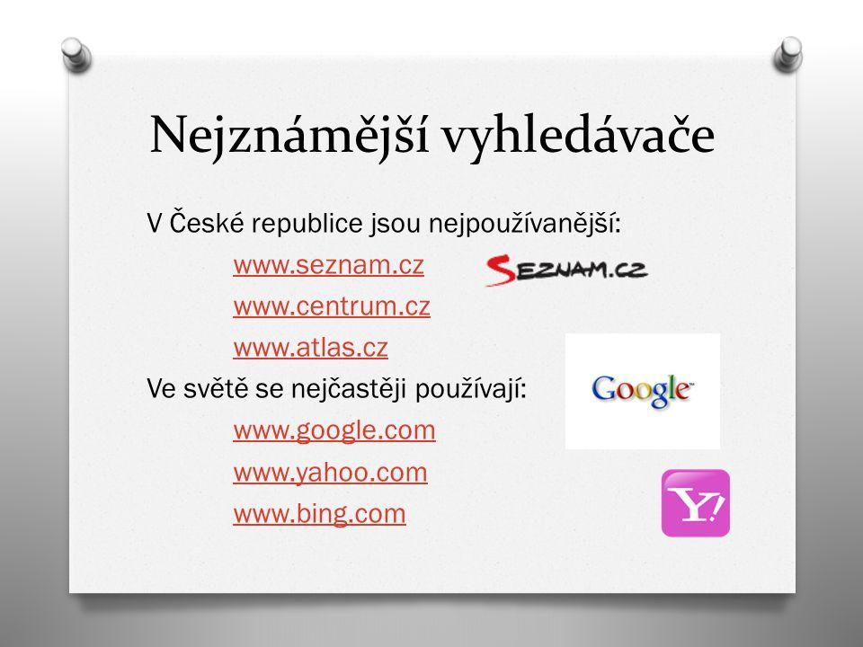 Nejznámější vyhledávače V České republice jsou nejpoužívanější: www.seznam.cz www.centrum.cz www.atlas.cz Ve světě se nejčastěji používají: www.google.com www.yahoo.com www.bing.com