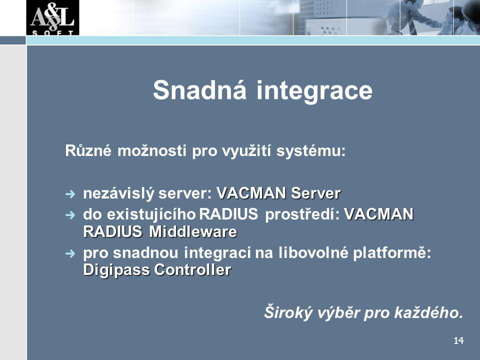 14 Snadná integrace Různé možnosti pro využití systému: VACMAN Server nezávislý server: VACMAN Server VACMAN RADIUS Middleware do existujícího RADIUS