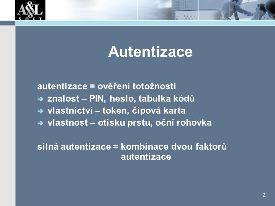 2 Autentizace autentizace = ověření totožnosti znalost – PIN, heslo, tabulka kódů vlastnictví – token, čipová karta vlastnost – otisku prstu, oční roh