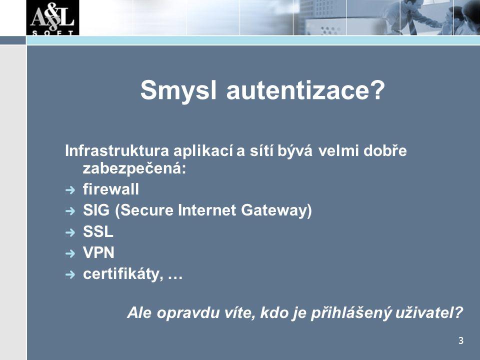 3 Smysl autentizace? Infrastruktura aplikací a sítí bývá velmi dobře zabezpečená: firewall SIG (Secure Internet Gateway) SSL VPN certifikáty, … Ale op