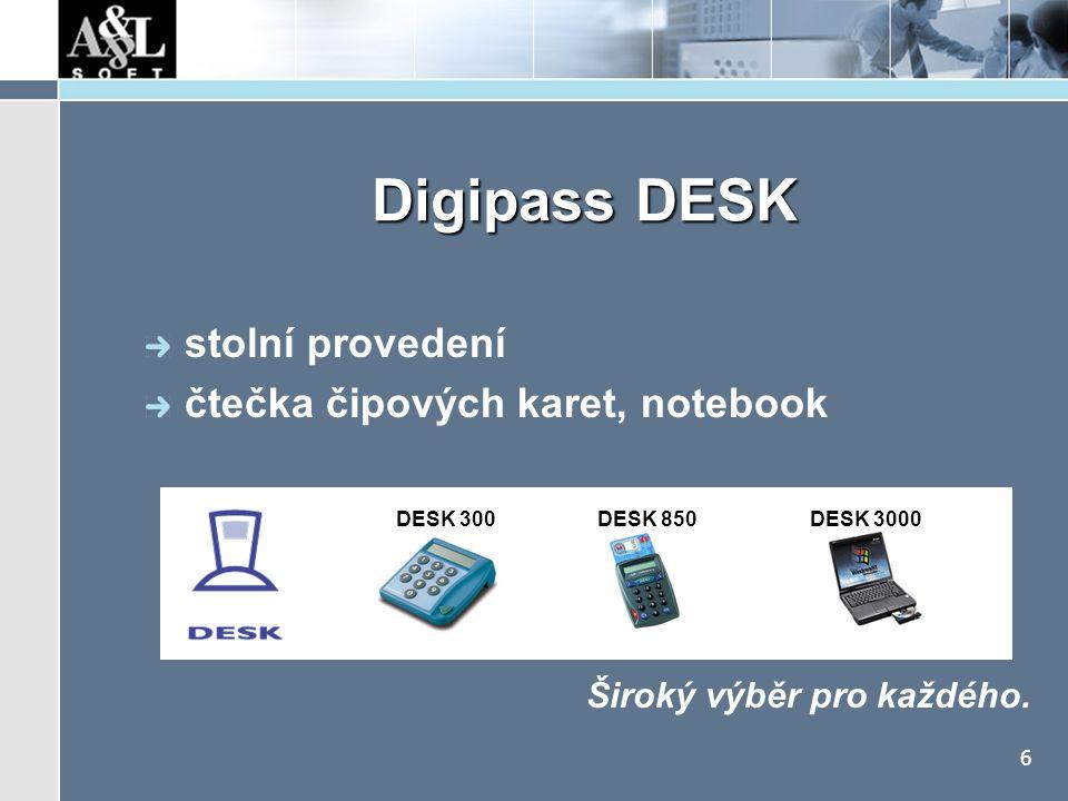 6 Digipass DESK Široký výběr pro každého. stolní provedení čtečka čipových karet, notebook DESK 300 DESK 850 DESK 3000