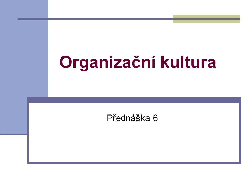 Organizační kultura Přednáška 6