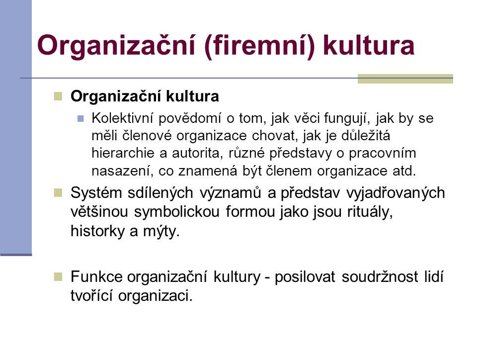Organizační (firemní) kultura Organizační kultura Kolektivní povědomí o tom, jak věci fungují, jak by se měli členové organizace chovat, jak je důleži