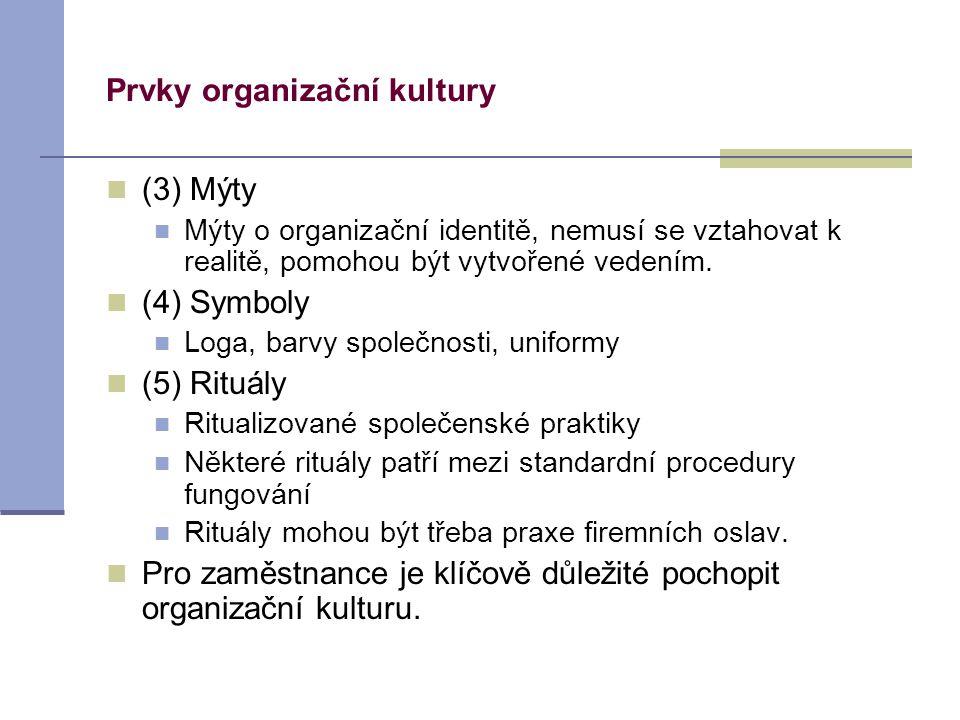 Prvky organizační kultury (3) Mýty Mýty o organizační identitě, nemusí se vztahovat k realitě, pomohou být vytvořené vedením. (4) Symboly Loga, barvy
