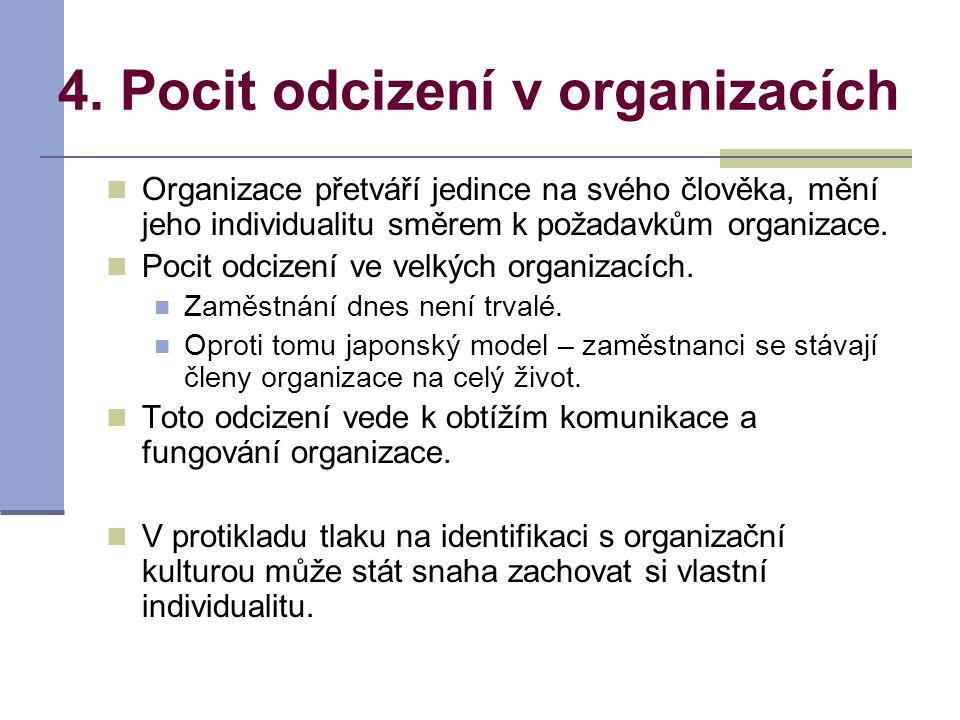 4. Pocit odcizení v organizacích Organizace přetváří jedince na svého člověka, mění jeho individualitu směrem k požadavkům organizace. Pocit odcizení