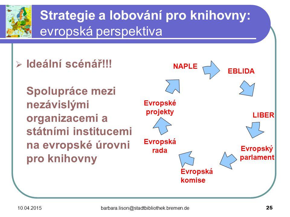 10.04.2015barbara.lison@stadtbibliothek.bremen.de 25 Strategie a lobování pro knihovny: evropská perspektiva  Ideální scénář!!.