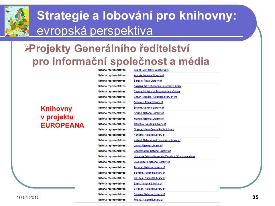 10.04.2015barbara.lison@stadtbibliothek.bremen.de 35 Strategie a lobování pro knihovny: evropská perspektiva Knihovny v projektu EUROPEANA  Projekty Generálního ředitelství pro informační společnost a média