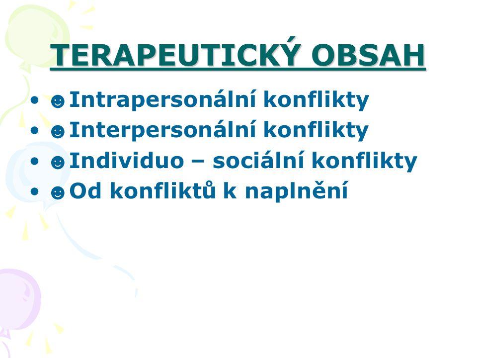 TERAPEUTICKÝ OBSAH ☻ Intrapersonální konflikty ☻ Interpersonální konflikty ☻ Individuo – sociální konflikty ☻ Od konfliktů k naplnění