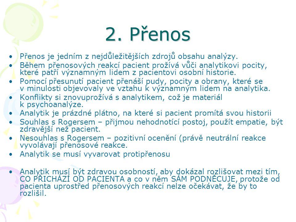 2. Přenos Přenos je jedním z nejdůležitějších zdrojů obsahu analýzy. Během přenosových reakcí pacient prožívá vůči analytikovi pocity, které patří výz