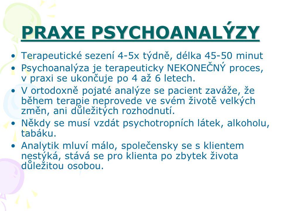 PRAXE PSYCHOANALÝZY Terapeutické sezení 4-5x týdně, délka 45-50 minut Psychoanalýza je terapeuticky NEKONEČNÝ proces, v praxi se ukončuje po 4 až 6 le