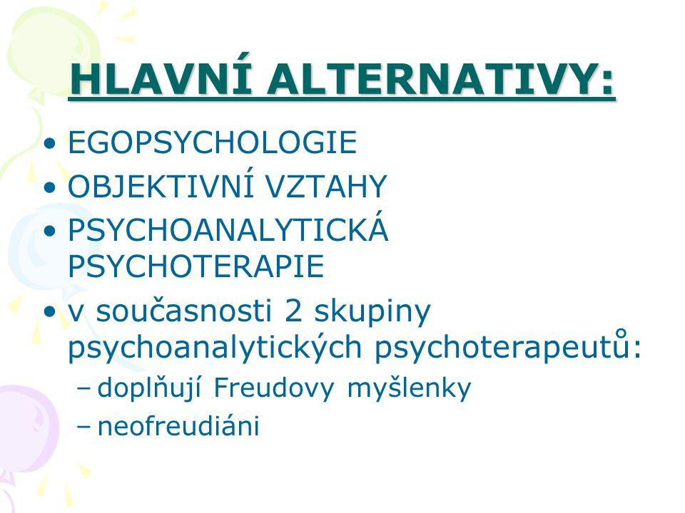 HLAVNÍ ALTERNATIVY: EGOPSYCHOLOGIE OBJEKTIVNÍ VZTAHY PSYCHOANALYTICKÁ PSYCHOTERAPIE v současnosti 2 skupiny psychoanalytických psychoterapeutů: –doplň