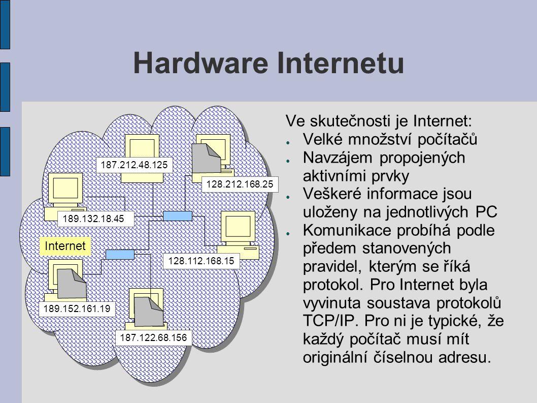 Hardware Internetu Ve skutečnosti je Internet: ● Velké množství počítačů ● Navzájem propojených aktivními prvky ● Veškeré informace jsou uloženy na jednotlivých PC ● Komunikace probíhá podle předem stanovených pravidel, kterým se říká protokol.